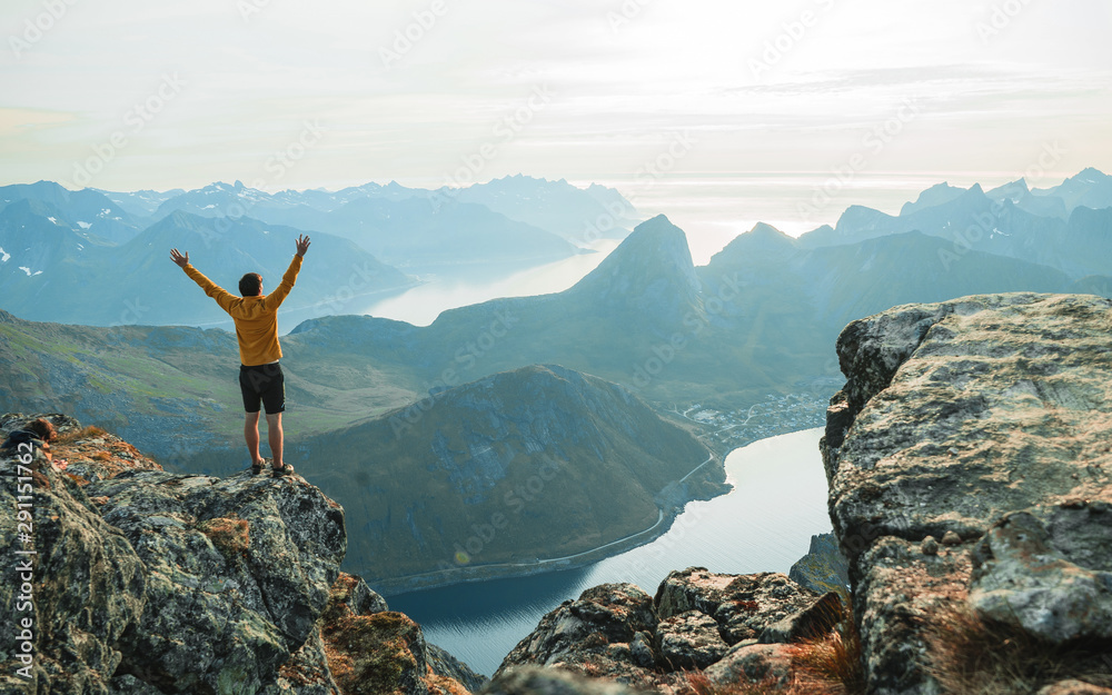 Fototapety, obrazy:  Hiker traveling on hill peaks landscape. Sport, tourism and hiking concept.