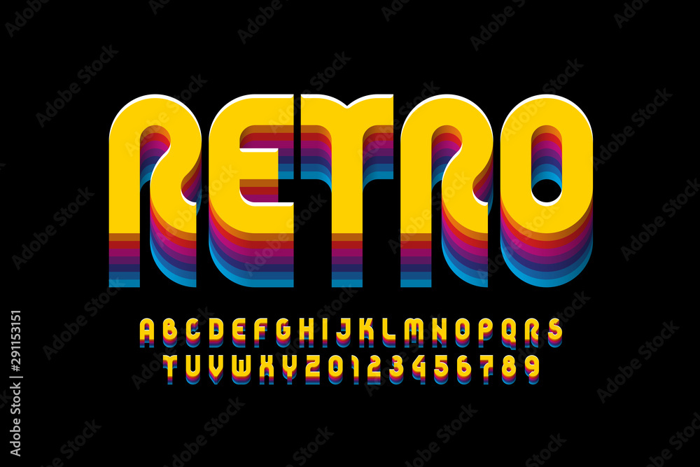 Fototapeta Retro style font design, alphabet letters and numbers