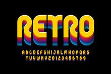 Retro Style Font Design, Alpha...