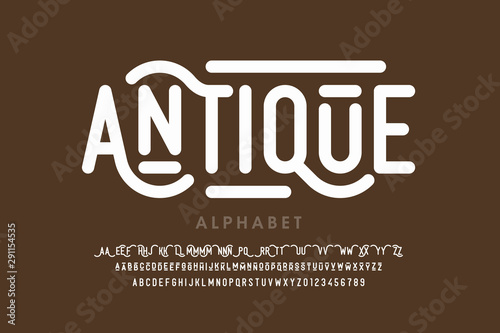 Cuadros en Lienzo Antique style font, alphabet letters with alternates and numbers
