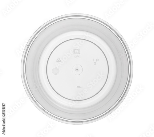 Plastic bowl disposable top view show caution icon (with clipping path) isolated Wallpaper Mural