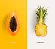 canvas print picture - Creative layout made of papaya and pineapple. Flat lay. Food concept.