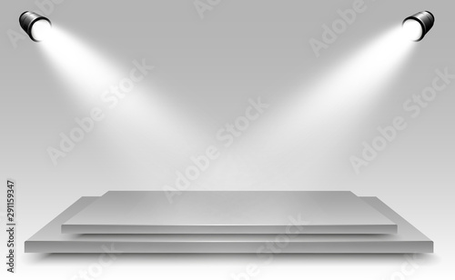 Wall Murals Light, shadow Realistic 3d Light Box with platform background for design performance, show, exhibition. Vector illustration of Lightbox Studio Interior. Podium with spotlights.