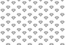 Diamond Background, Seamless Texture. Pattern For Textile. Black White Diamond Print. Vector Illustration