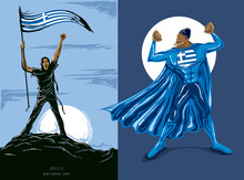 Super Hero With Greece Flag, ...