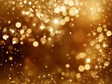 Golden Glitter Background With Stars