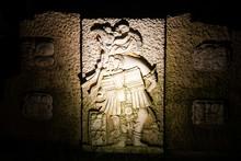 Mayan Sculpture In Cozumel Mex...