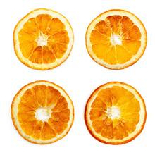 Set Of Slice Of Dried Orange Isolated On White