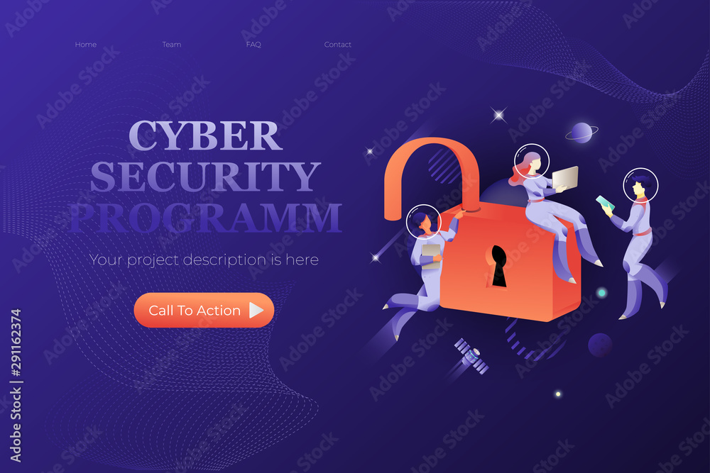 Fototapeta Cyber Security Programm Web Page Template