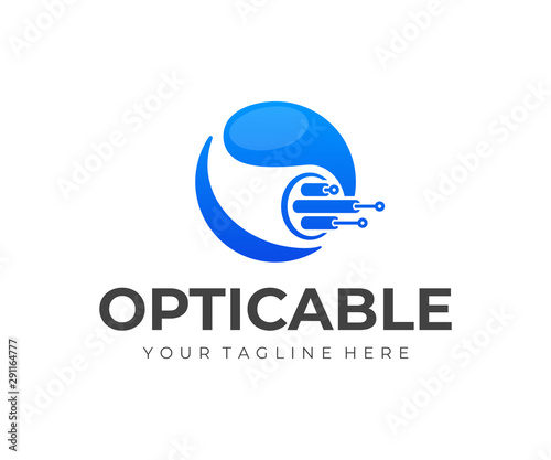 Optical fiber cable logo design. Internet connection vector design. Telecommunication and networking logotype Wall mural