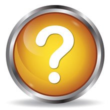 Question Mark Icon Orange Glossy Round Button