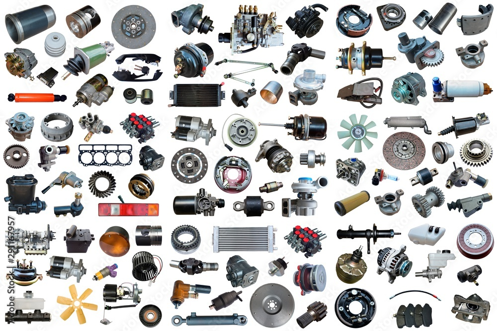 Fototapeta Auto spare parts car on the white background. Set with many isolated items for shop or aftermarket