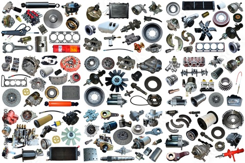 Photo Auto spare parts car on the white background
