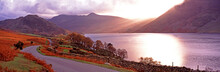 Warm Panoramic Autumn Sunset Over Buttermere In The Lake District Cumbria