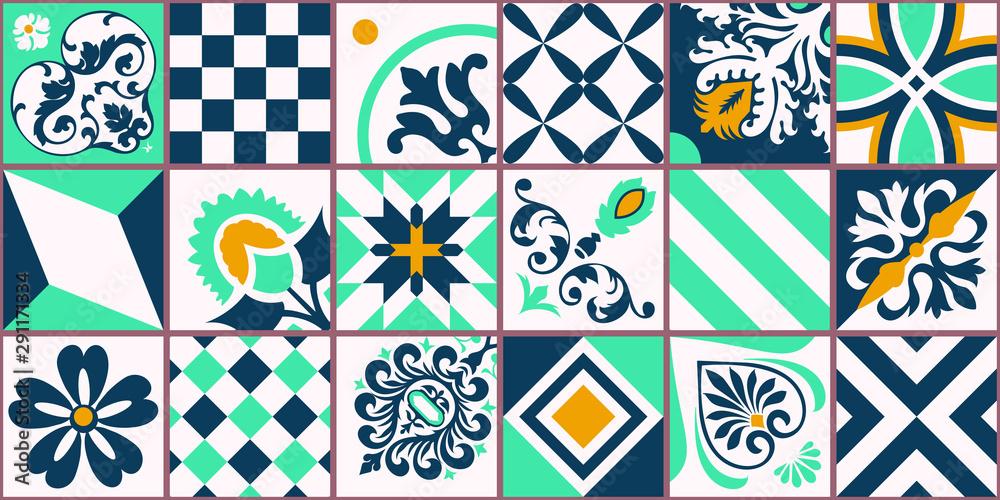 Fototapeta Lisbon geometric Azulejo tile vector pattern, Portuguese or Spanish retro old tiles mosaic, Mediterranean seamless turquoise and yellow design. Ornamental textile background