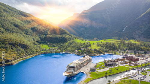 End of the famous Geiranger fjord, Norway with cruise ship