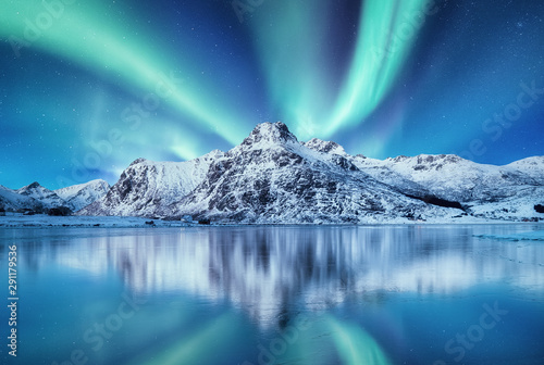 Poster Aurore polaire Aurora Borealis, Lofoten islands, Norway. Nothen light and reflection on the lake surface. Winter landscape at the night time. Norway travel - image