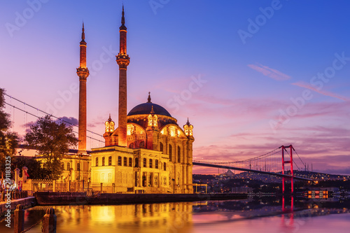 Wall Murals Old building Ortakoy Mosque and the Bosphorus bridge in the night lights, Istanbul, Turkey