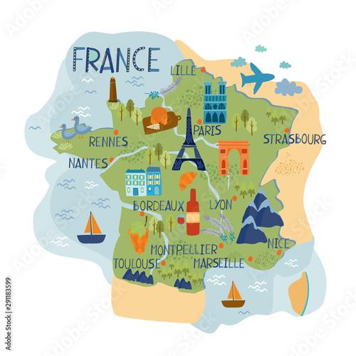 vector map of france Fototapet
