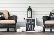 canvas print picture - Stylish fall porch decor in black and white