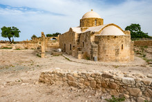 Republic Of Cyprus. The Town Of Paphos. Ruins Of Paphos. Archaeological Park In The Open Air. Ancient Church Among The Ruins. Ancient Buildings In Cyprus.