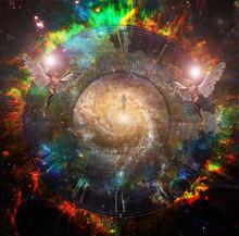 Soul Journey. Man Soul In Vivid Space. Flying Angels