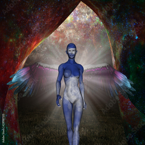 Sky Angel. Winged woman came from an unknown space Wallpaper Mural