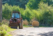Old Tractor And Haybale In Far...