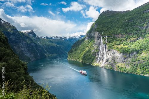 Beautiful views in Geiranger, Geirangerfjord, Norway Canvas Print