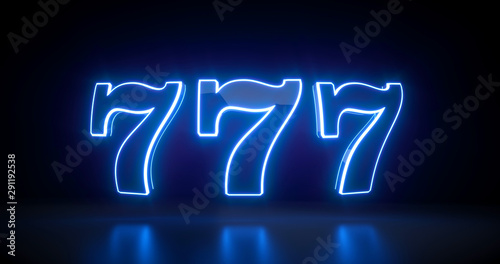 Tela  777 Slot Sign With Futuristic Blue Neon Lights Isolated On The Black Background