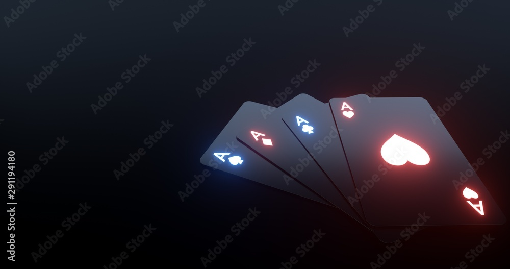 Fototapety, obrazy: 4 Aces Playing Cards With Futuristic Glowing Lights Isolated On The Black Background - 3D Illustration