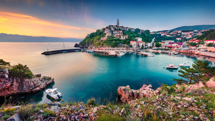 Exciting morning cityscape of Vrbnik town. Colorful summer seascape of Adriatic sea, Krk island, Kvarner bay archipelago, Croatia, Europe. Beautiful world of Mediterranean countries.