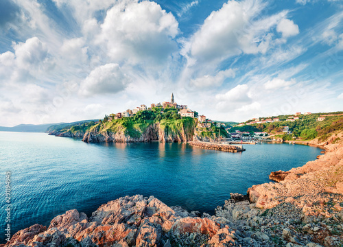 Incredible morning cityscape of Vrbnik town. Perfect summer seascape of Adriatic sea, Krk island, Kvarner bay archipelago, Croatia, Europe. Beautiful world of Mediterranean countries.