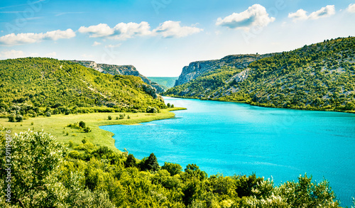 Photo sur Toile Piscine Colorful summer view of Visovacko lake. Great morning scene of Krka National park, Roski Slap location, Croatia, Europe. Beautiful world of Mediterranean countries. Traveling concept background.