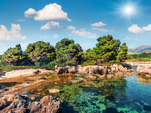 Sunny Spring View Of Argostoli Vilagito Torony Nature Reserve. Beautiful Outdoor Scene Of Kefalonia Island, Argostoli Town Location, Greece, Europe. Beauty Of Nature Concept Background.