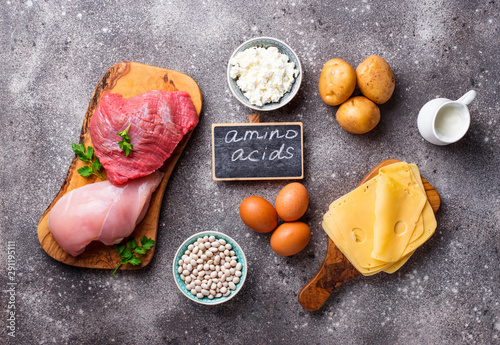 Products rich in amino acids. Wallpaper Mural