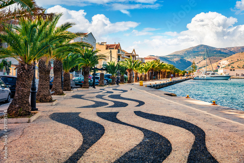 Attractive spring cityscape of Argostoli port. Romantic morning scene of Kefalonia island, Greece, Europe. Beautiful seascape of Ionian Sea. Traveling concept background.
