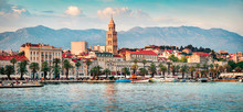 Colorful Evening Panorama Of Split City With Diocletian Palace. Splendid Summer Seascape Of Adriatic Sea, Croatia, Europe. Beautiful World Of Mediterranean Countries. Traveling Concept Background.