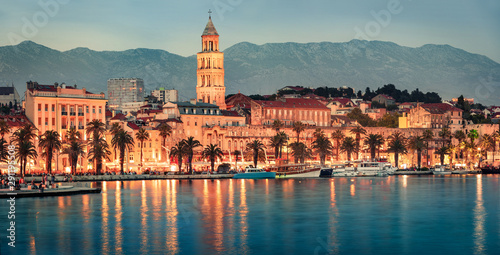 Fotografie, Obraz  Vintage evening panorama of Split city