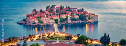 Foto auf AluDibond Dunkelgrau Aerial summer cityscape of Sveti Stefan town. Amazing evening seascape of Adriatic sea, Montenegro, Europe. Beautiful world of Mediterranean countries. Architecture traveling background.