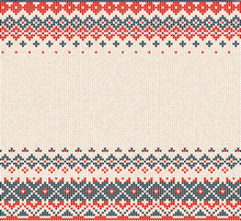 Scandinavian Or Russian Style Knitted Background With Borders Or Frame.