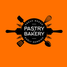 Bakery And Pastry Logo. Letters On A Circle With Utensils. Kitchen Spatula, Rolling Pin, Spoons, Whisk. Black Utensils Silhouette.