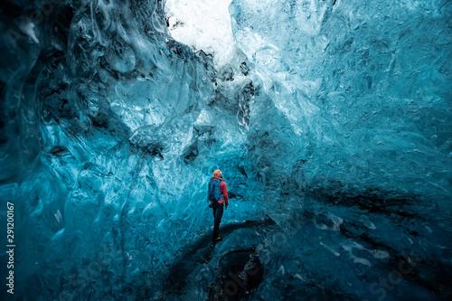 Carta da parati Inside a glacier ice cave in Iceland
