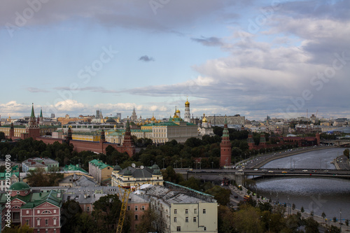 Recess Fitting Eastern Europe top view of the Kremlin and Moscow river from the bridge from the panoramic platform of the temple of Christ the Savior in Moscow Russia