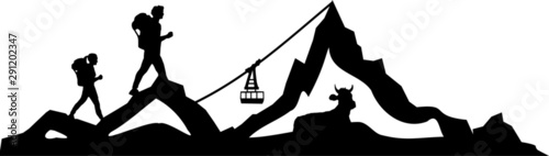 Photographie Hiking Mountain Skyline Landscape Vector