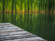 Wooden Pier On A Natural Pond ...