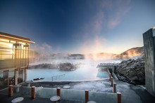 Beautiful Landscape And Sunset Near Blue Lagoon Hot Spring Spa In Iceland