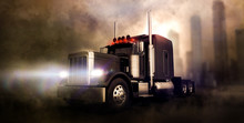 Classic Black Semi Truck On Dark Background With Smoke And City In The Background (3D Illustration)