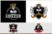 Gorilla With A Crown And Shield Vector Badge Logo Template