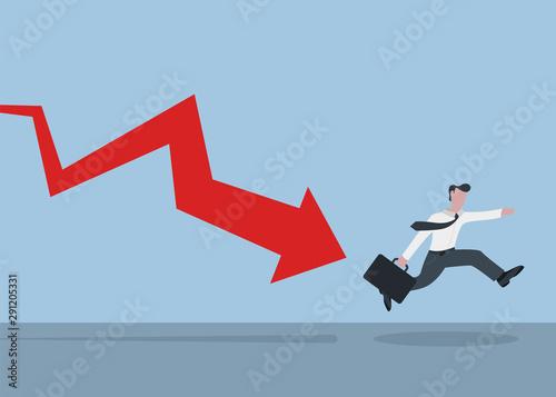 Fotografie, Obraz  The businessman went bankrupt and runs away